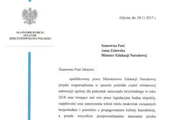 Senator napisał do Minister Edukacji Narodowej